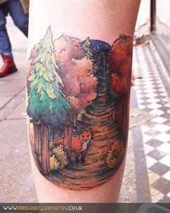 Watercolour whimsical fox woodland scene tattoo by Sarah Wood, at Pride and Glory tattoo studio, Leigh-on-sea, Essex. UK