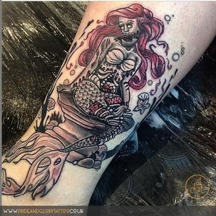Zombie Ariel My Little Mermaid tattoo by Chessie at Pride and Glory tattoo studio, Leigh-on-sea Essex.