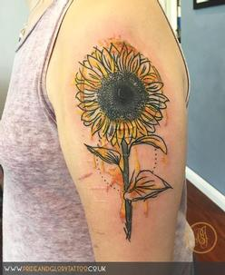 Sketch style watercolour sunflower tattoo inspired by Van Gogh, by Chessie Clear at Pride and Glory tattoo studio, Leigh-on-sea, Essex, UK